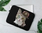 Custom Cat Laptop Sleeve, Steam punk  style cat laptop case, Pesronalized text or name / monogrammed