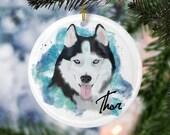 Custom Siberian husky Ceramic Ornaments, blue eyes, husky lover christmas gift or memorial ornament