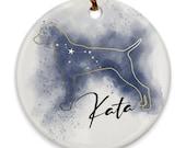 Custom Pointe/ Vizsla Porcelain Ornaments Canis Major Constellation, Memorial Gift, Dog Lover Mom