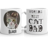 Custom steampunk cat Mug, Best cat dad office mug