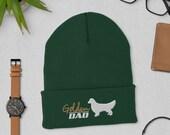 Golden retriever dad Cuffed Beanie, winter dog walking hat, christmas dog gift