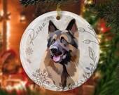 Custom German shepherd, GSD Christmas Ceramic Ornaments, pet memorial ornament