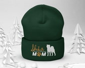 Shiba inu mom Cuffed Beanie , winter dog walking, christmas dog gift