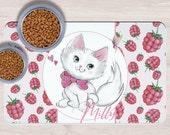 Custom White Cat Cuspet Placemats, Crazy cat lady gift, Dog Bowl Mat, Custom Pet Gifts, Custom Pet Mat