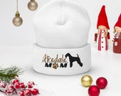 Airedale Terrier Cuffed Beanie, Terrier christmas gift, Airedale mom christmas