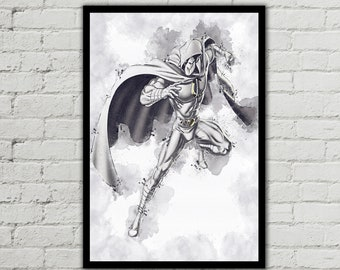 "36/"" x 24/"" approx Moon Knight silk screen fabric poster"
