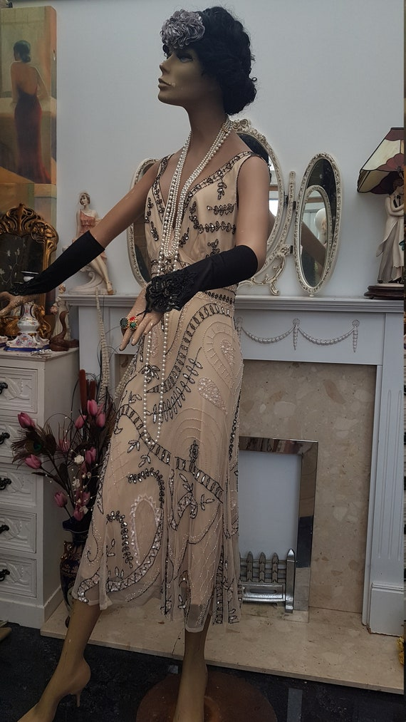 1920's Downton Abbey Formal Evening Dress Beaded … - image 4