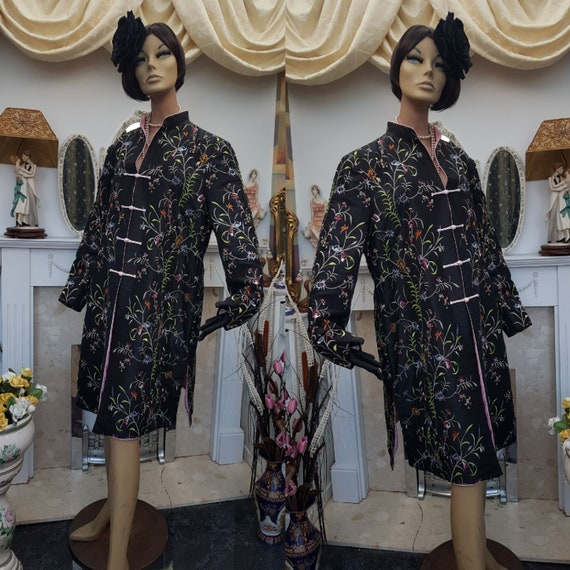 Embroidered Evening Coat Oriental Floral Evening C