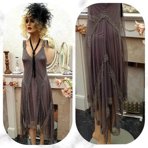 1920's Gatsby Flapper Dress Art Deco Sequin Bead … - image 7