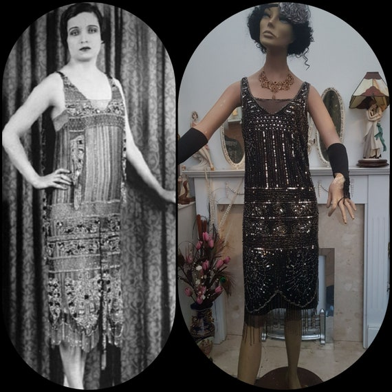 1920's Great Gatsby Beaded Sequin Flapper Dress S… - image 6