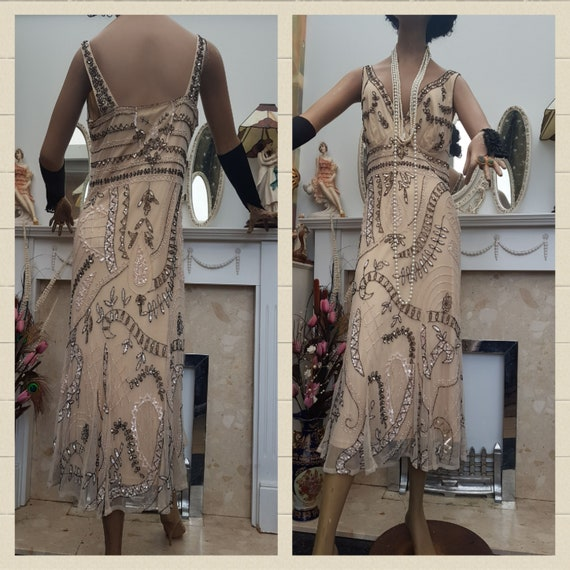 1920's Downton Abbey Formal Evening Dress Beaded … - image 3