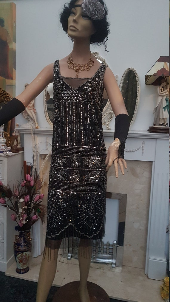 1920's Great Gatsby Beaded Sequin Flapper Dress S… - image 8