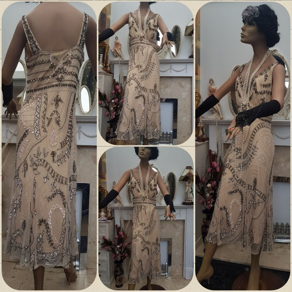 1920's Downton Abbey Formal Evening Dress Beaded … - image 2