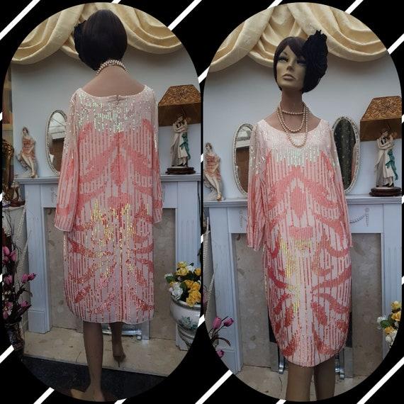 20's Gatsby Flapper Dress Art Deco Shinny Sequin F
