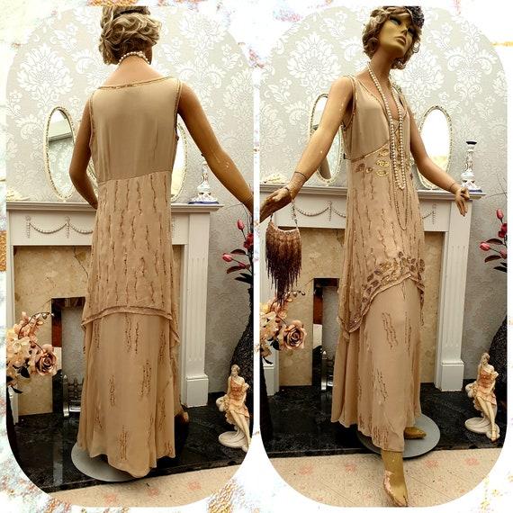 20's 30s Flapper dress Bias Cut Sequin Art Deco Fl
