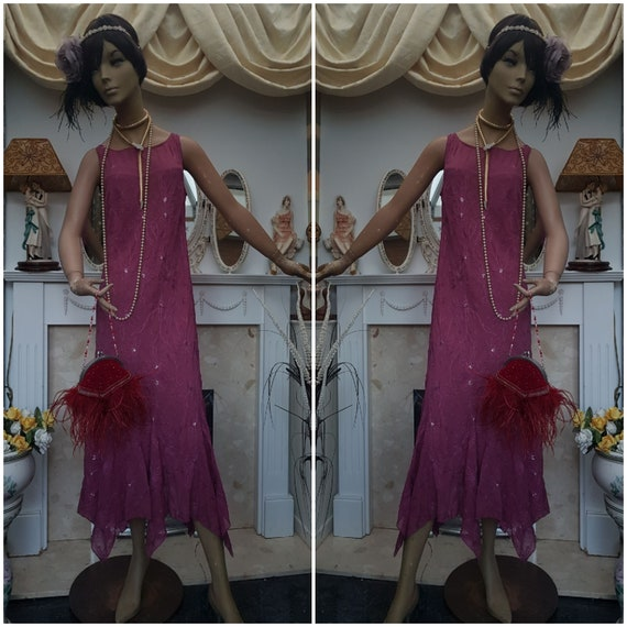 1920's Great Gatsby Flapper Dress Dropped Waist Be
