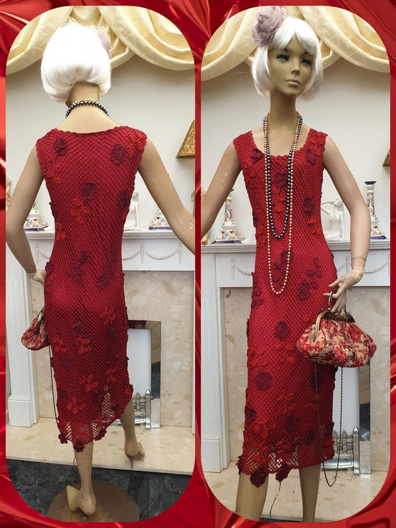 20's 30s Flapper Dress Vintage Crochet Evening Dre