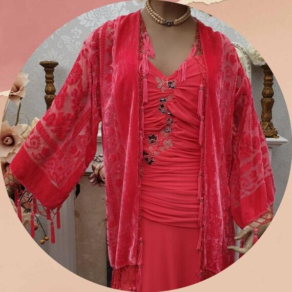 Salmon Coral Kimono Fringe Jacket Silk Burnout Vel
