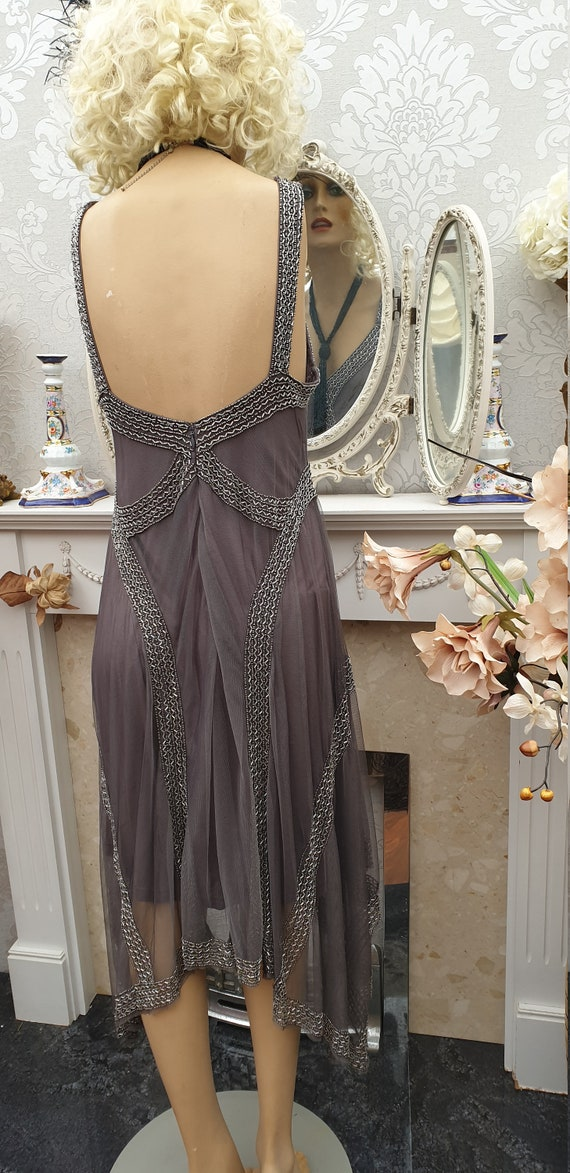 1920's Gatsby Flapper Dress Art Deco Sequin Bead … - image 8