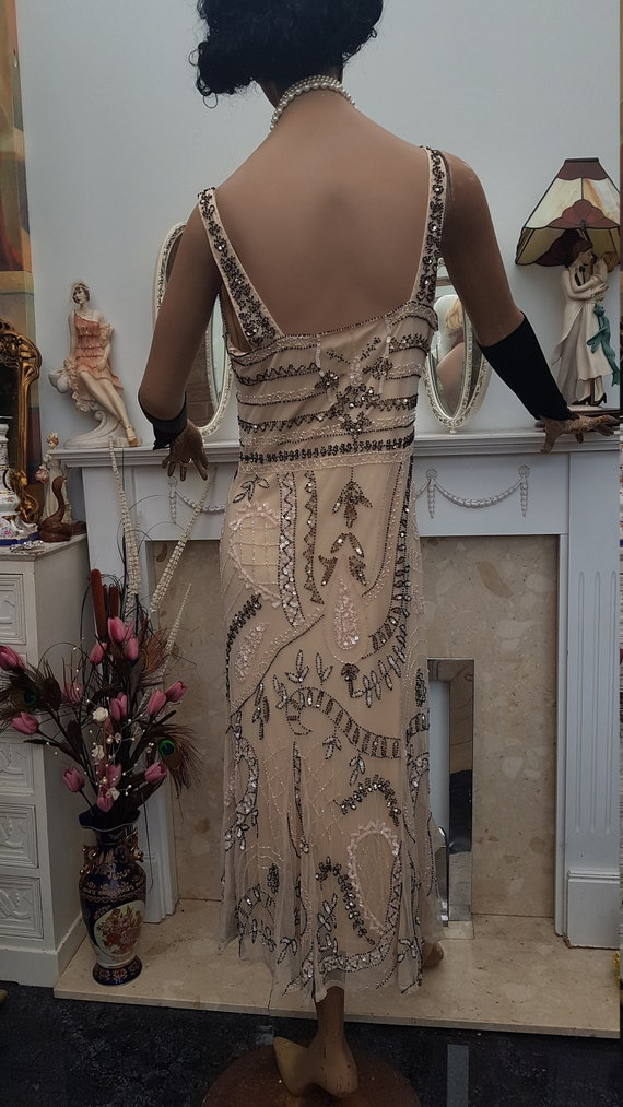 1920's Downton Abbey Formal Evening Dress Beaded … - image 8