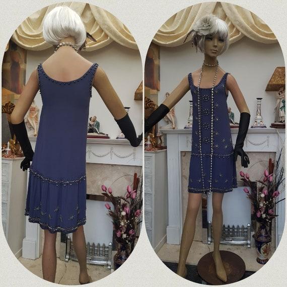 20's 30's Flapper Dress Art Deco Beaded Dress Size