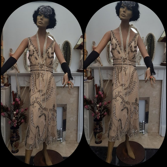 1920's Downton Abbey Formal Evening Dress Beaded S
