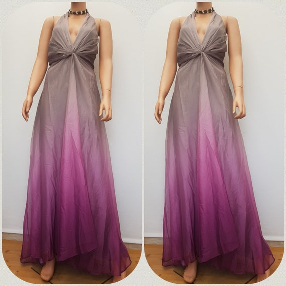 Vintage John Lewis Maxi Gown Ombre Halterneck Evening Dress Size 18UK 14US