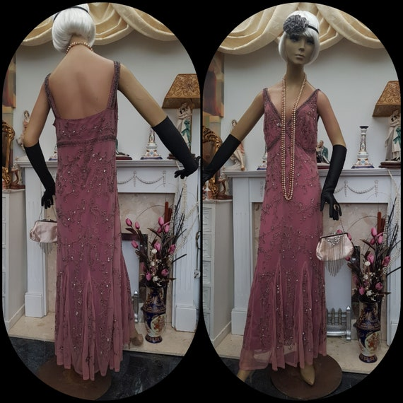 20's 30's Downton Abbey Formal Evening Dress Beade