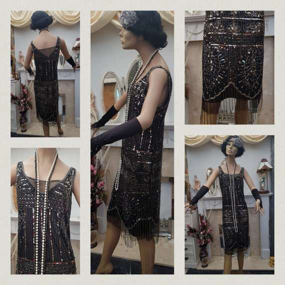 1920's Great Gatsby Beaded Sequin Flapper Dress S… - image 4