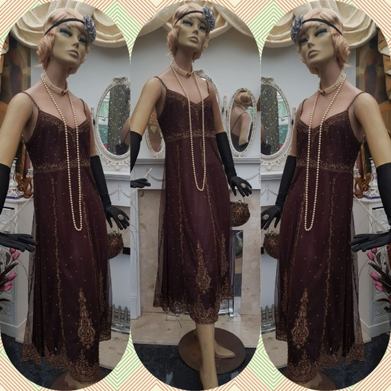 1920's Downton Abbey Formal Evening Dress Size 14U