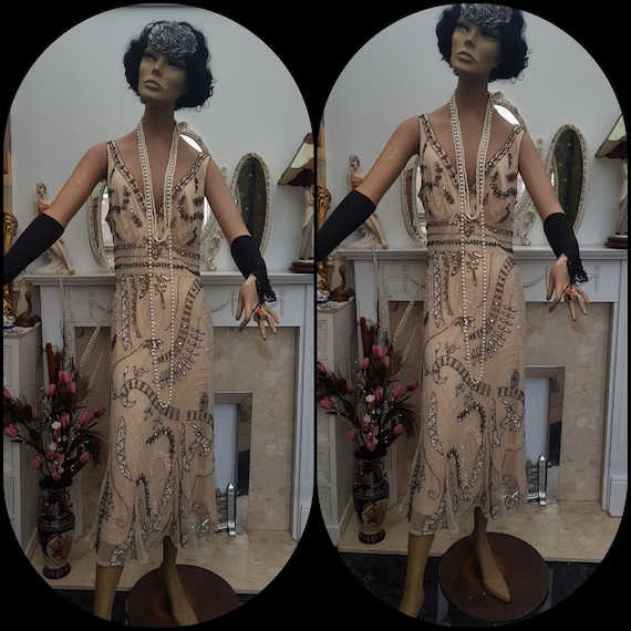1920's Downton Abbey Formal Evening Dress Beaded … - image 5