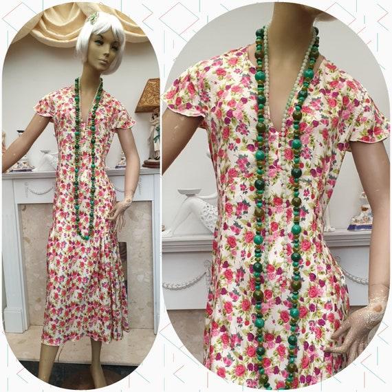 20's Flapper Dress Silk Floral Flapper Dress Dropp