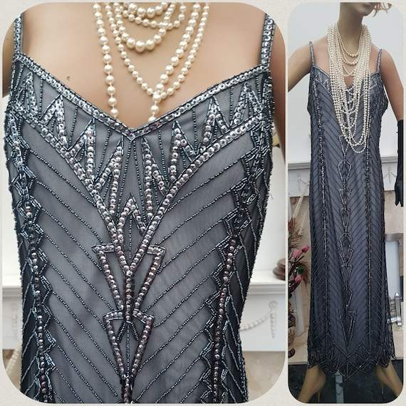 1920's Downton Abbey Evening Dress, Art Deco Beade