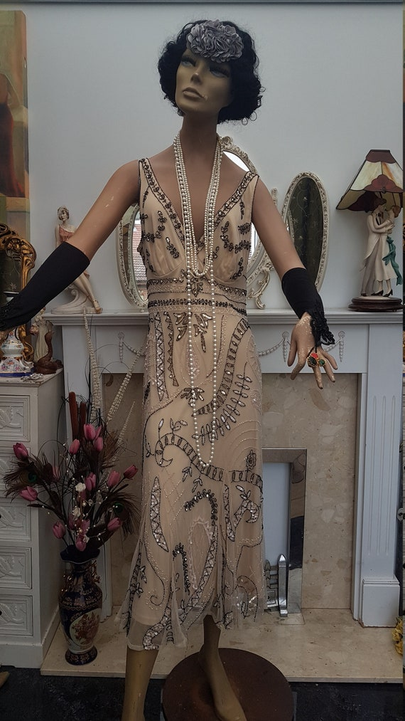 1920's Downton Abbey Formal Evening Dress Beaded … - image 7