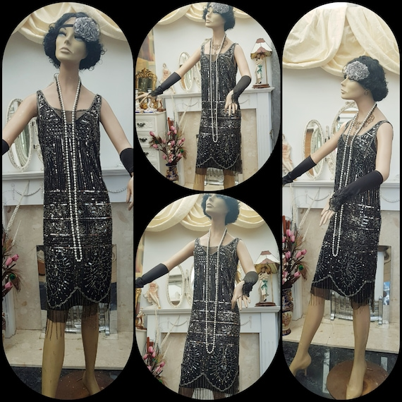 1920's Great Gatsby Beaded Sequin Flapper Dress S… - image 7