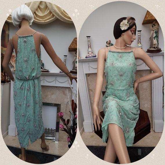20's 30's Downton Abbey Evening Dress Beaded Drape