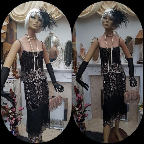 1920's Gatsby Flapper Dress Art Deco Sequin Bead D
