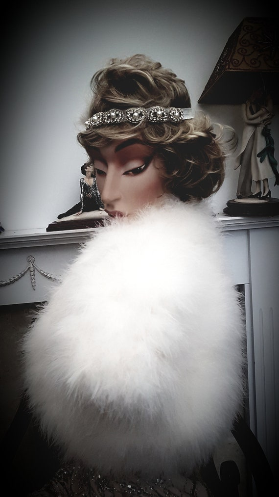 1920's Great Gatsby Marabou Cape Ivory Wedding Cap