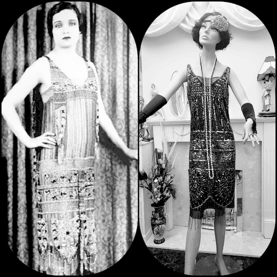 1920's Great Gatsby Beaded Sequin Flapper Dress S… - image 2