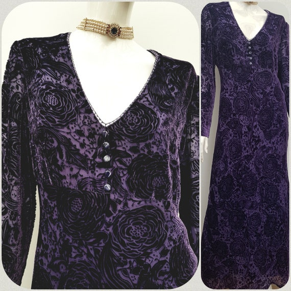 Vintage 30s Devoré Purple Silk Velvet Gown, 30s Bu