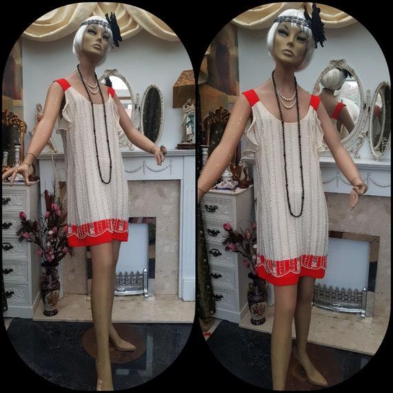 1920' Flapper Dress Size Beaded Champagne Dress 12