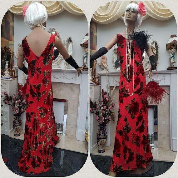 1930's Downton Abbey Velvet Devore Floral Dress Bi