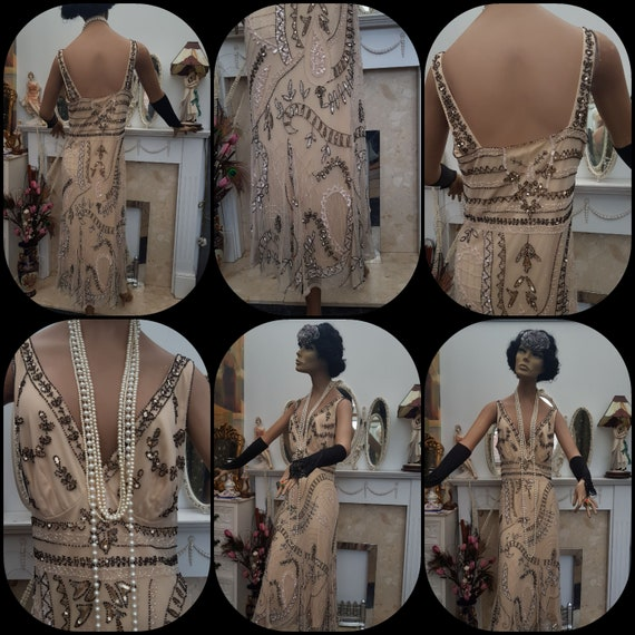 1920's Downton Abbey Formal Evening Dress Beaded … - image 6
