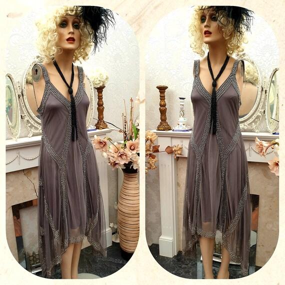 1920's Gatsby Flapper Dress Art Deco Sequin Bead … - image 2