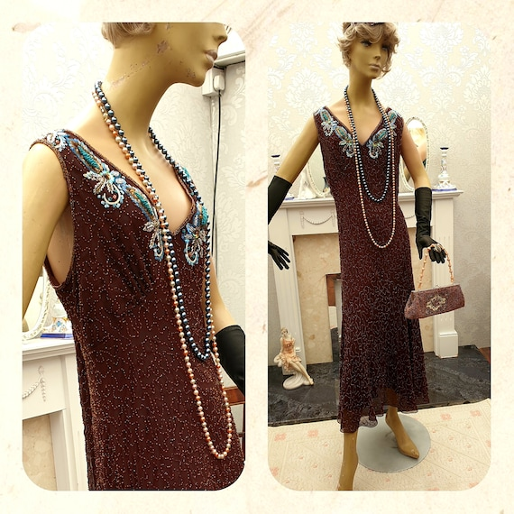 1920's Gatsby Flapper Dress Art Deco Sequin Beaded