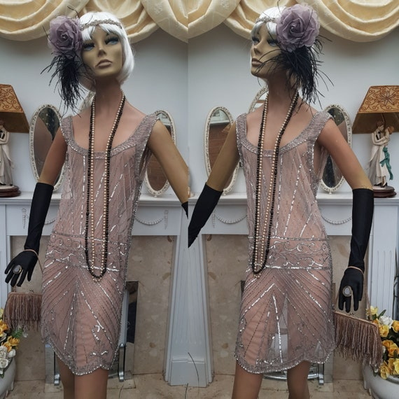 1920' Flapper Dress Beaded Nude Mesh Flapper Dress