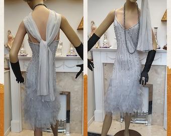 1920's Great Gatsby Flapper Dress Bias Cut Silk Dress Beaded Silk Flapper Size 12UK 8US