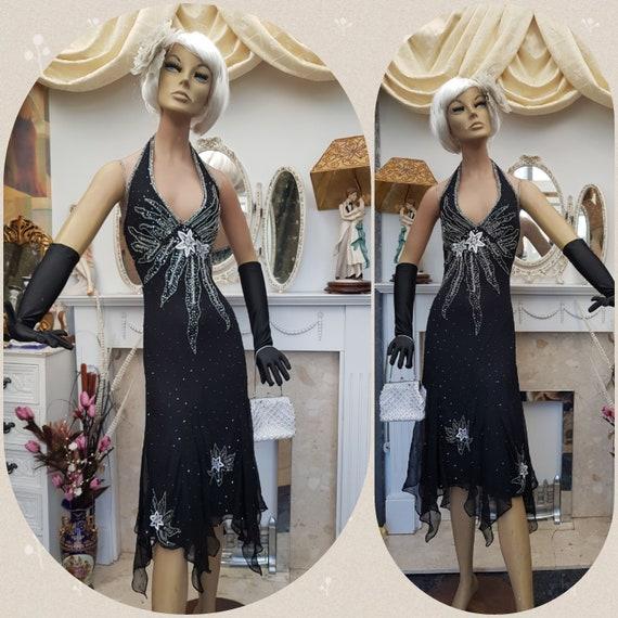 1920' Flapper Dress Art Deco Beaded Dress Black Si