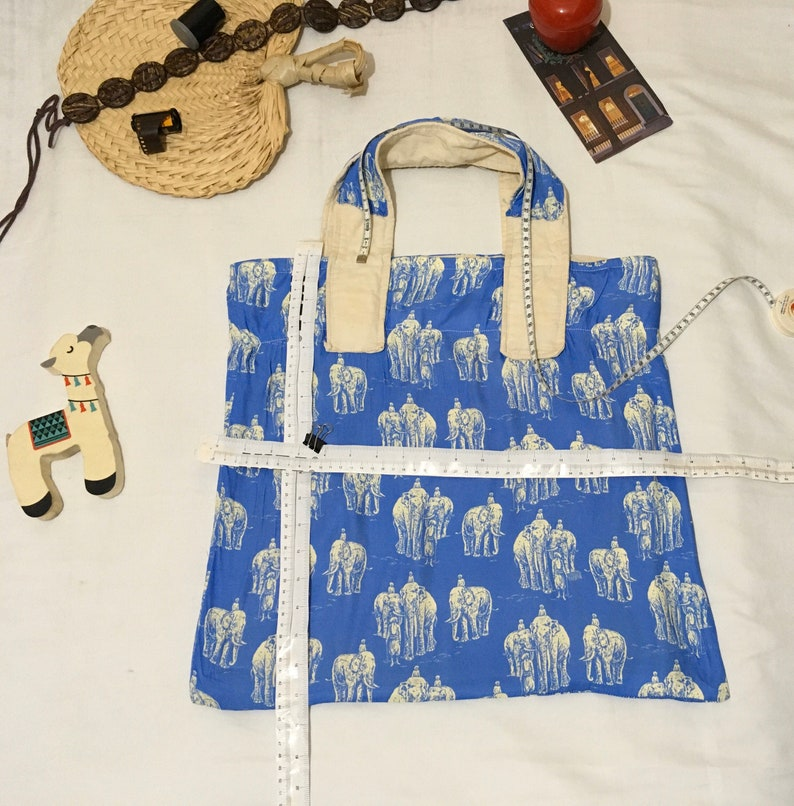 Elephants and Indians bright blue silky fabric and linenjute-looking fabric as lining stylish /& elegant  Unisex Tote Bag Asian pattern