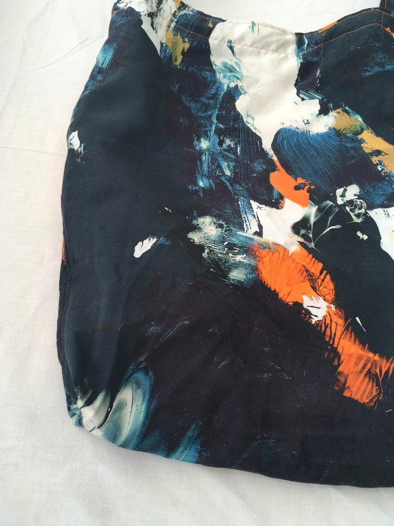 light Now 2.00 Euros only SALE price Arty watery batik dying looking  colored printed messenger bag